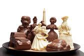 Tray with variety of chocolate figurines — Stok fotoğraf