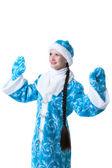 Portret van mooie sneeuw Maiden, geïsoleerd op wit — Stockfoto
