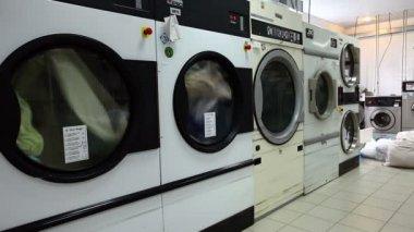 Laundry. View of automatic washing machines — Стоковое видео