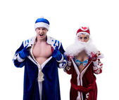 Grandfather Frost and Snow Maiden exchanged bodies — Stock Photo
