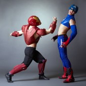 Confrontation of superheroes. Sexy male dancers — Stock Photo