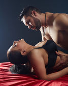 Close-up of passionate lovers having hot sex — Stock Photo