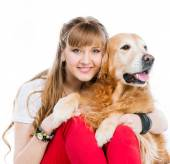 Retriever and girl — Stock Photo