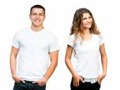 Teenagers in  Blank White Shirt — Stock Photo