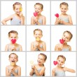 Collage little  girl with candy — Stock Photo #67171931
