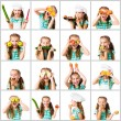 Collage girl with fruit and vegetables — Stock Photo #67171961