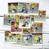 Collage girl on roller skates — Stock Photo