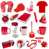 Different isolated objects red color — 图库照片