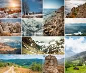 Collage of photos mountain scenery — Stock Photo