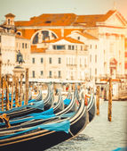 Gondolas in a canal in Venice — Stock Photo