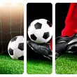 Soccer ball with his feet on the football field — Stock Photo #79332680