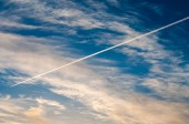 The plane flying in the sky — Foto Stock