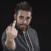 Goatee Young Man Showing Fuck You Sign — Stock Photo