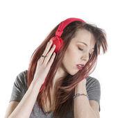 Sensual Woman Listening to Music Using Headphone — Stock Photo