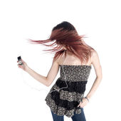 Woman with Tousled Hair Listening to MP3 Music — Stock Photo