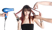 Hairstylists Styling the Hair of a Young Woman — Stock Photo
