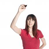 Happy Woman Raising a Marker Pen Up — Stock fotografie