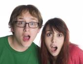 Shocked Couple with Mouth Open Looking at Camera — Stock Photo