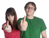 Young Couple Showing Fuck You Finger Signs — Stock Photo