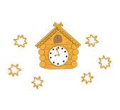 Vector illustration  wooden cuckoo clock — Stock Vector