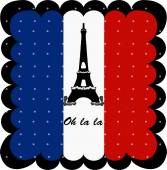 France flag and Eiffel Tower of Paris background — Stock Vector