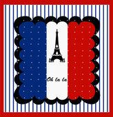 Eiffel Tower n the France Flag. Vector — Stock Vector