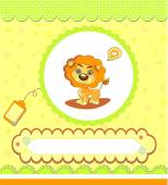 Baby shower card ,yellow with lion — Stock Vector