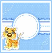 Illustration of cute lion on decorative background — Stock Vector