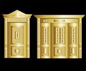 Golden Vault Door. Vector Illustration — Stock Vector