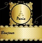 Paris with Eiffel tower lettering and drawing — Stock Vector