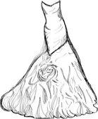 Vector bridal dress drawing — Stock Vector