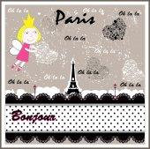 Vector Retro Paris.  Girl — Stock Vector