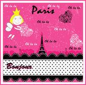 Eiffel, Paris in vintage style poster, vector illustration — Stockvector