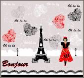 векторная открытка с имиджем франции. француженка — Cтоковый вектор