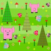 Seamless green background with a pattern of funny cartoon happy pink pig — Vetor de Stock