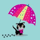 Cat şemsiye — Stok Vektör