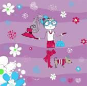 Pretty girl on striped background, T-shirt design vector illustration — Stock Vector