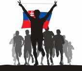 Winner with the Slovakia flag at the finish — Stock Vector