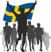 Winner with the Sweden flag at the finish — Stock Vector