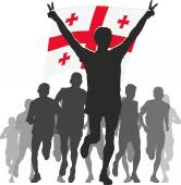 Athlete with the Georgia flag at the finish — Stock Vector