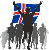 Athlete with the Iceland flag at the finish — Stock Vector