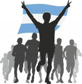 Athlete with the Argentina flag at the finish — Stock Vector