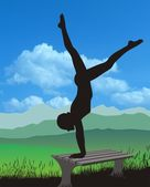 Naked Gymnastics in Nature — Stock Photo
