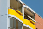 Two yellow balconies — Stock Photo