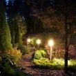Illuminated garden path patio — Stock Photo #52680075