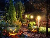 Garden patio with Jack-o-Lanterns — Stock Photo