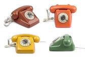 Vintage telephone color variations set — Stock Photo