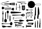 Kitchen equipment and cutlery silhouette set — Foto Stock
