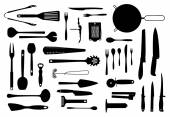Kitchen equipment and cutlery silhouette set — Stockfoto