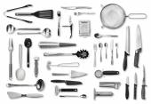 Kitchen equipment and cutlery set — Stock Photo